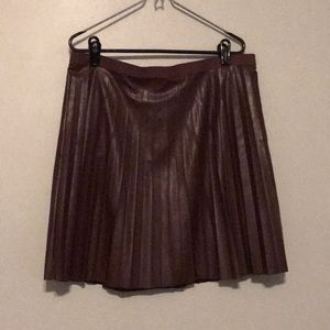 Maroon J. crew pleated leather like skirt